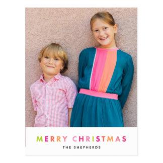 Modern Neon Merry Christmas Photo Postcard