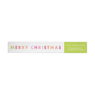 Modern Neon Merry Christmas Wraparound Labels Wraparound Return Address Label