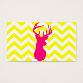 Modern Neon Pink Deer Head Yellow Chevron Pattern Business Card