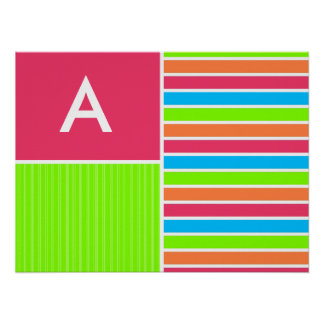 Modern Neon Stripes Pink Blue Green Posters