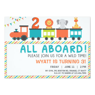 Modern Neutral Safari Train Birthday Invite