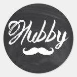 modern newlywed groom Moustache hubby Round Sticker