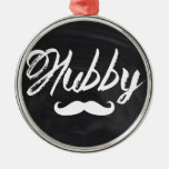 modern newlywed groom Moustache hubby Silver-Colored Round Decoration