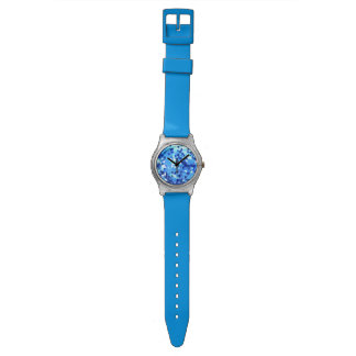 Modern Ocean Blue and Purple Stained Glass Mosaic Watch