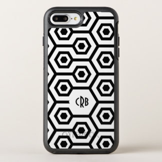Modern Octagonal Pattern In Black & White OtterBox Symmetry iPhone 7 Plus Case