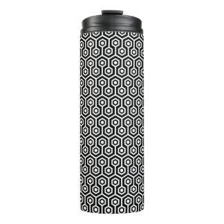 Modern Octagonal Pattern In Black & White Thermal Tumbler
