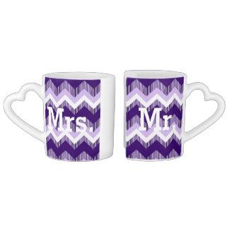 modern ombre purple chevron mr and mrs lovers mug sets