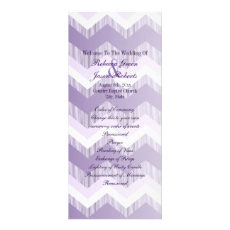 modern ombre purple chevron wedding programs rack card