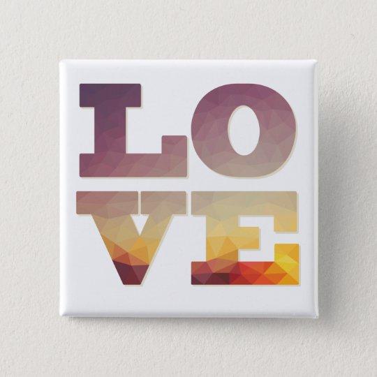 Modern ombre sunrise colours love word 15 cm square badge