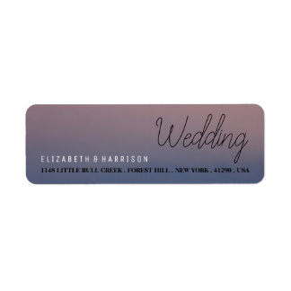 Modern Ombre Sunrise Wedding Return Address Label
