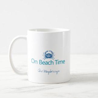 "Modern ""On Beach Time"" Coffee Mug"