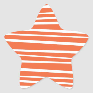 Modern Orange Abstract Tiger Stripes Zig Zag Star Sticker
