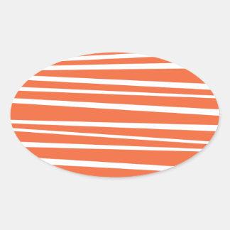 Modern Orange Abstract Tiger Stripes Zig Zag Oval Sticker