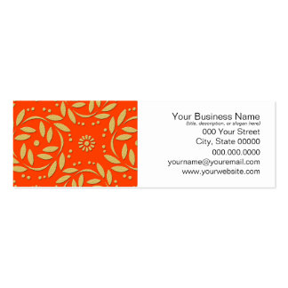Modern Orange and Gold Floral Pattern Pack Of Skinny Business Cards