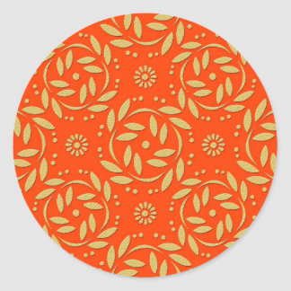 Modern Orange and Gold Floral Pattern Classic Round Sticker