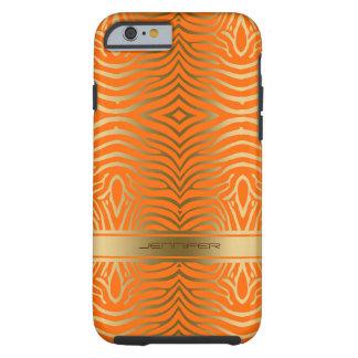 Modern Orange And Gold Zebra Stripes Tough iPhone 6 Case