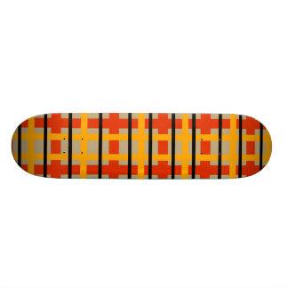 Modern orange and green plaid 19.7 cm skateboard deck