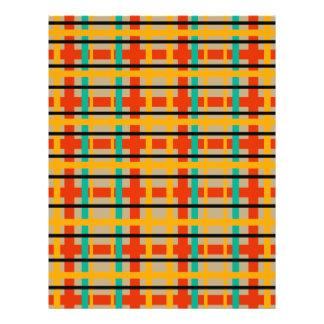 Modern orange and green plaid 21.5 cm x 28 cm flyer
