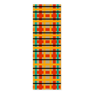 Modern orange and green plaid business cards