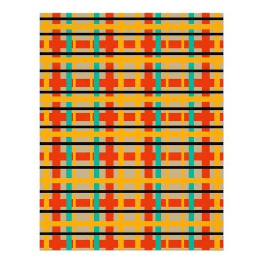 Modern orange and green plaid flyer design