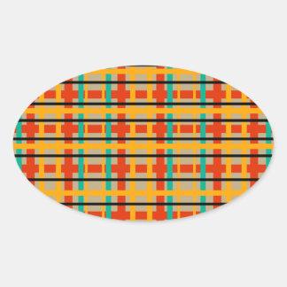 Modern orange and green plaid oval sticker