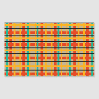 Modern orange and green plaid rectangle stickers