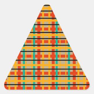 Modern orange and green plaid triangle sticker