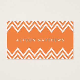 Modern Orange and White Chevron Business Card