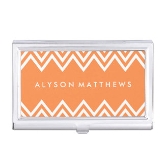 Modern Orange and White Chevron Business Card Holder