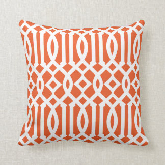 Modern Orange and White Imperial Trellis Throw Pillow