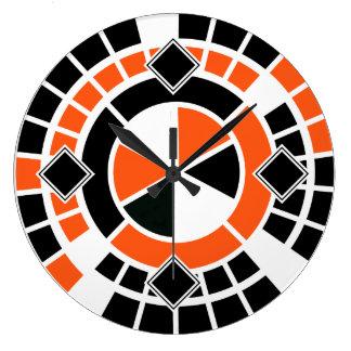 Modern orange black white Wheel Graphic Design Wall Clocks