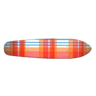 Modern orange blue and red plaid 18.1 cm old school skateboard deck