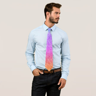 Modern Orange  & Blue Gradation Glitter Pattern Tie