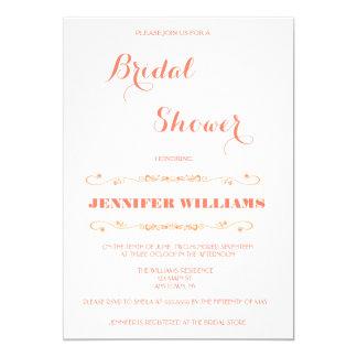 Modern Orange Bridal Shower Invitations