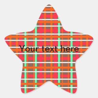 Modern orange brown and green plaid star sticker