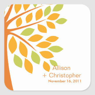 Modern Orange Fall Tree Wedding Square Sticker