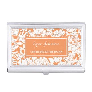 Modern Orange Floral Girly Certified Esthetician Business Card Holder
