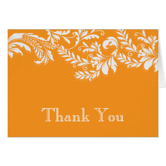 Modern Orange Floral Leaf Flourish Thank You Note Card