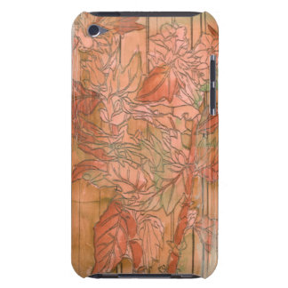 Modern Orange Floral Print on Stripped Background Barely There iPod Cover
