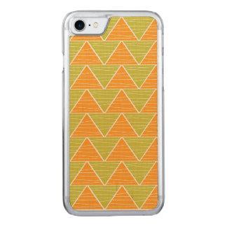 Modern Orange Green Triangles Chevron Pattern Carved iPhone 8/7 Case