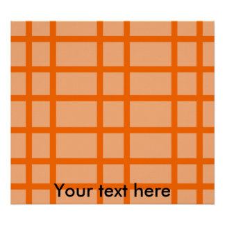 Modern orange grid pattern poster