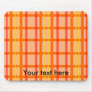 Modern orange grid pattern with red yellow stripes mouse pad