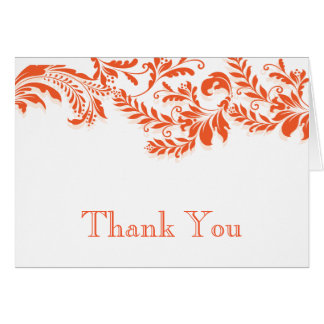 Modern Orange Leaf Flourish Thank You Note Card