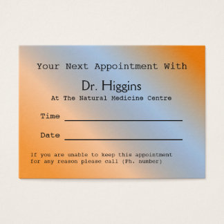 Modern Orange Medical Dental Appointment Card