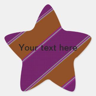 Modern orange purple diagonal stripes star sticker