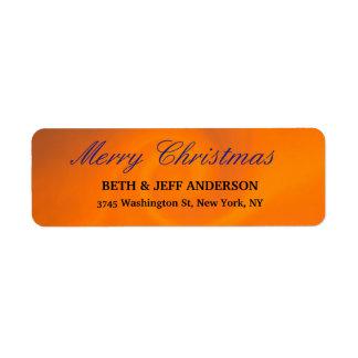 Modern Orange Stylish Merry Christmas Family Sheet Return Address Label