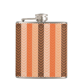 Modern Orange Variegated Chevron Stripes Pattern Hip Flask