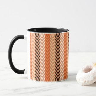 Modern Orange Variegated Chevron Stripes Pattern Mug
