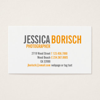 Modern Orange White Grey Business Card