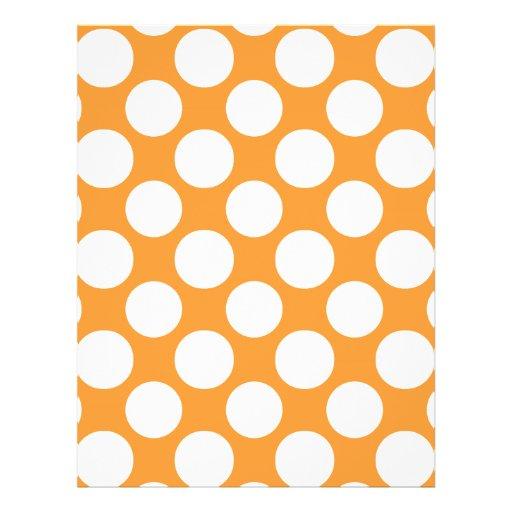 Modern Orange White Polka Dots Pattern Full Color Flyer